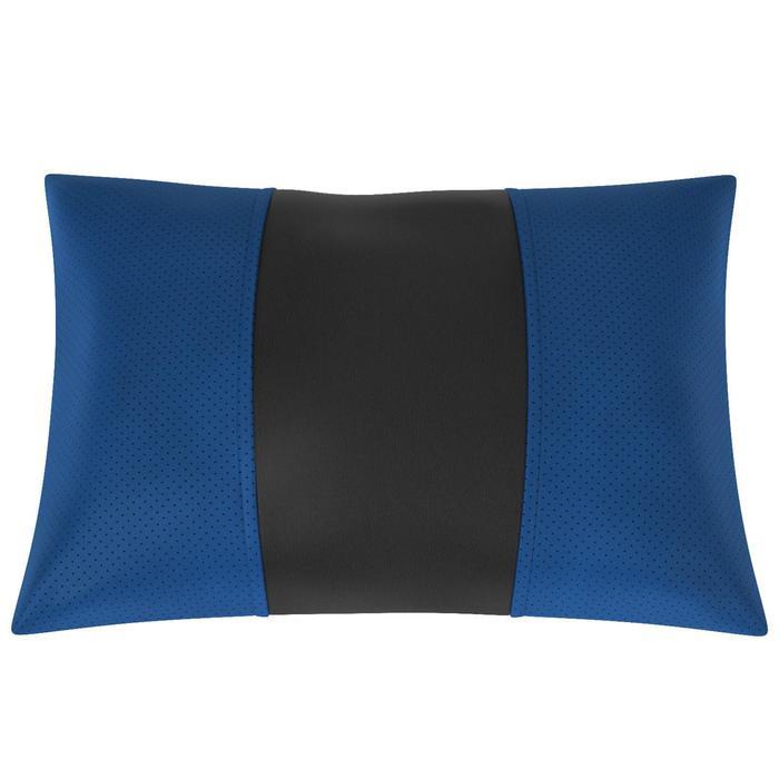 Автомобильная подушка, поясничный подпор, экокожа, чёрно-синяя