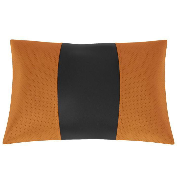 Автомобильная подушка, поясничный подпор, экокожа, чёрно-оранжевая