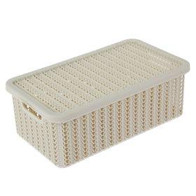 Корзина для хранения с крышкой IDEA «Вязание», 3 л, 26,5×15×10 см, цвет белый