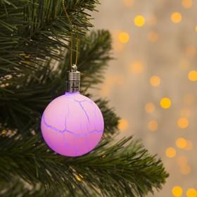 Игрушка световая 'Елочный шар узоры краской' 5 см, 1 LED, RGB, РОЗОВЫЙ Ош