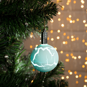 Игрушка световая 'Елочный шар узоры краской' 5 см, 1 LED, RGB, ГОЛУБОЙ Ош