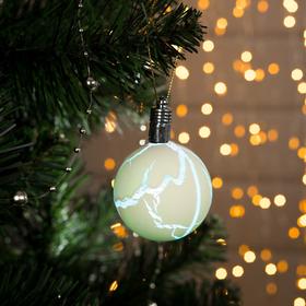 Игрушка световая 'Елочный шар узоры краской' 5 см, 1 LED, RGB, ЖЕЛТЫЙ Ош