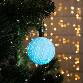 Игрушка световая 'Елочный фонарик узоры краской' 5 см, 1 LED, RGB, ГОЛУБОЙ Ош