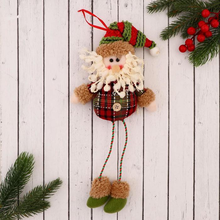 """Мягкая игрушка """"Дед Мороз"""" клетчатая рубашка 8*35 см"""