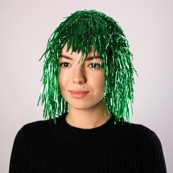 Карнавальный парик Дождь, 35 см, цвет зелёный