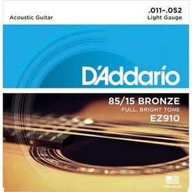 Струны для акустической гитары D`Addario EZ910 AMERICAN BRONZE 85/15  Light 11-52