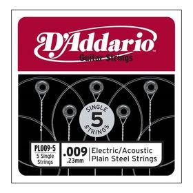 Отдельная стальная струна без обмотки D`Addario PL009-5 Plain Steel  009, 5шт