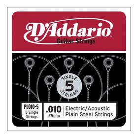 Отдельная стальная струна без обмотки D`Addario PL010-5 Plain Steel  010, 5шт