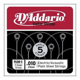 Отдельная стальная струна без обмотки D`Addario PL011-5 Plain Steel  011, 5шт