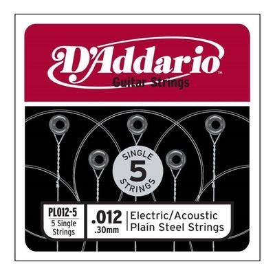 Отдельная стальная струна без обмотки D`Addario PL012-5 Plain Steel  012, 5шт