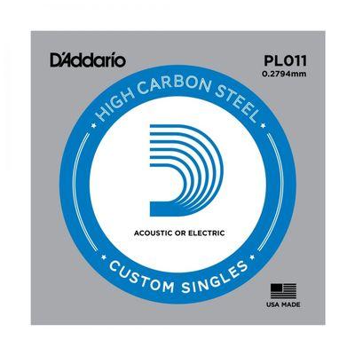 """Отдельная стальная струна D`Addario PL011 PLAIN STEEL без обмотки 0.011"""""""