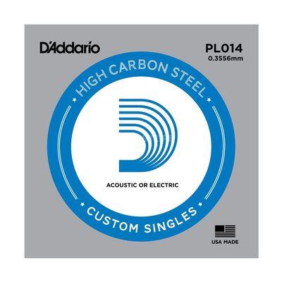 Отдельная струна D'Addario PL014 Plain Steel  без обмотки, сталь, .014