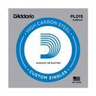 Отдельная струна D'Addario PL015 Plain Steel  без обмотки, сталь, .015,