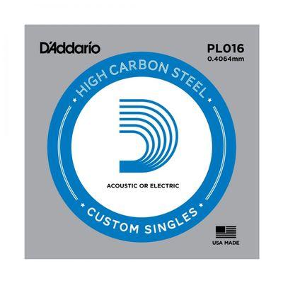Отдельная струна D'Addario PL016 Plain Steel  без обмотки, сталь, .016,