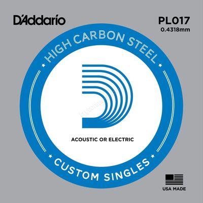 Отдельная струна D'Addario PL017 Plain Steel  без обмотки, сталь, .017,