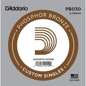 Отдельная струна D'Addario PB030 Phosphor Bronze  для акустической гитары