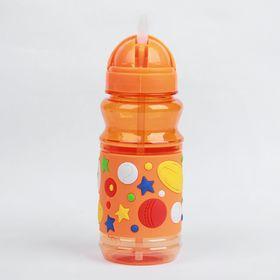 Поильник детский с трубочкой «Звёзды», 380 мл, цвет оранжевый