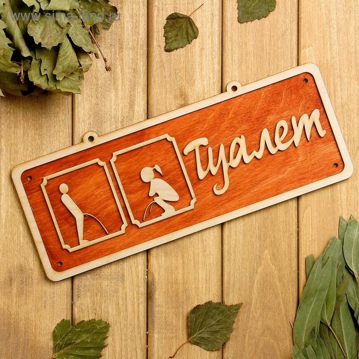 """Табличка 2-слойная """"Туалет 2"""", 30х12см"""