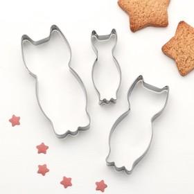 Набор форм для вырезания печенья 'Котик', 3 шт Ош
