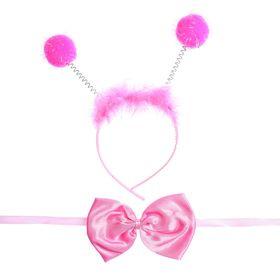 Карнавальный набор «Бомбошки», 2 предмета: ободок, бабочка, цвет розовый Ош