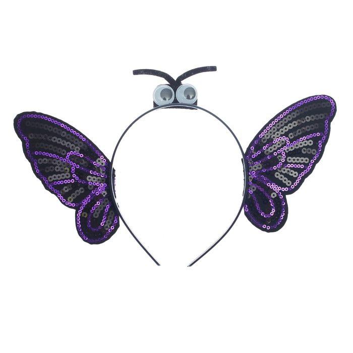 Карнавальный ободок Бабочка, цвет чёрный
