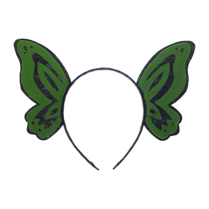 Карнавальный ободок Бабочка, цвет зелёный