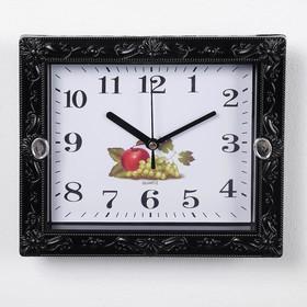 Часы настенные, серия: Классика, 'Брилл', чёрные, сюжетные, микс, 21х18 см, дискретный ход, Ош