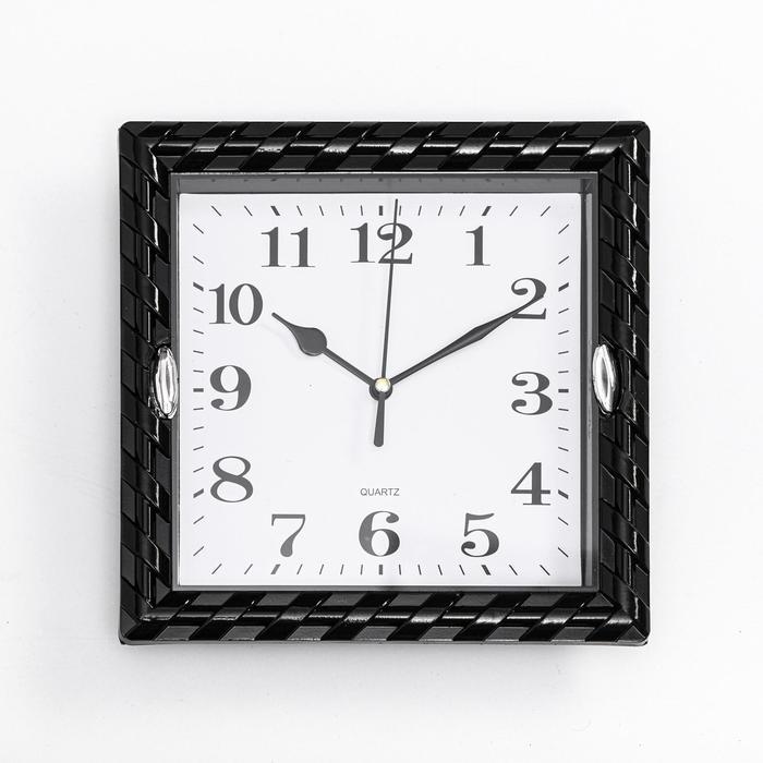Часы настенные,серияКлассика,Плетёнка,дискретный ход,20.5 х 20.5 см,d циферблата16 см 2457