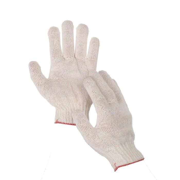 Перчатки, хб, вязка 10 класс, 3 нити, размер 9, без покрытия, белые