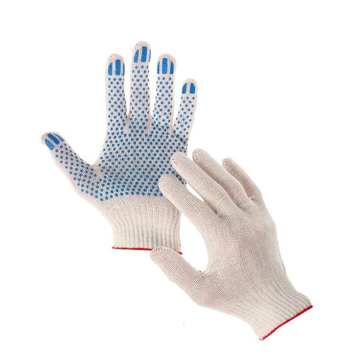 Перчатки, хб, вязка 10 класс, 3 нити, размер 9, с ПВХ точками, белые