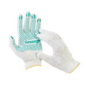 Перчатки, х/б, вязка 10 класс, 4 нити, размер 9, с ПВХ точками, белые, Greengo Ош