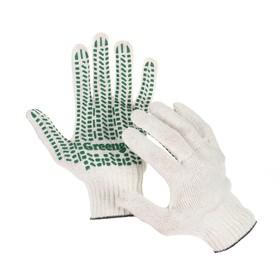 Перчатки, х/б, вязка 10 класс, 4 нити, размер 9, с ПВХ протектором, белые, Greengo Ош
