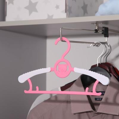 Вешалка-плечики для одежды детская, раздвижная «Мишка», размер 30-34, цвет МИКС