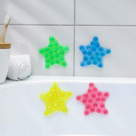 Мини-коврик для ванны «Звёзда», 10×10 см, цвет МИКС Ош