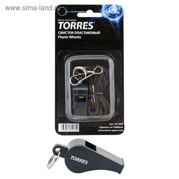 Свисток с шариком TORRES, шнурок с карабином в комплекте, цвет чёрный