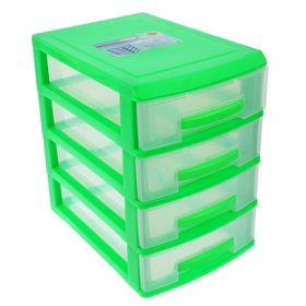 Мини-комод 4-х секционный Росспласт, цвет салатовый/прозрачный Ош