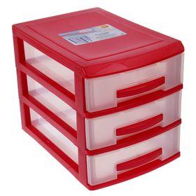 Мини-комод 3-х секционный Росспласт, цвет красный/прозрачный Ош