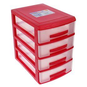 Мини-комод 4-х секционный Росспласт, цвет красный/прозрачный Ош