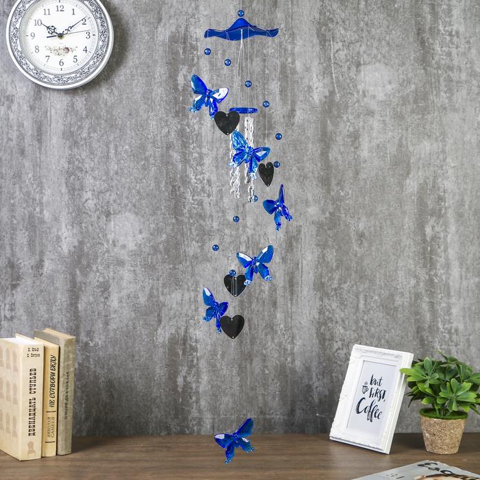 Музыка ветра пластик Бабочки и сердечко-зеркало 4 трубки 11 элементов 75 см