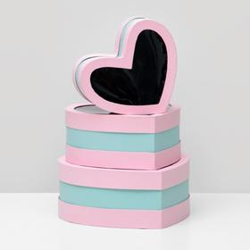 Набор коробок в форме сердца 3 в 1 с окном, 29 х 27 х 12 - 21 х 19 х 10 см