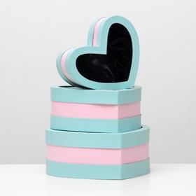 """Набор коробок в форме сердца 3 в 1 """"Сердце"""" с окном, голубой, 29 х 27 х 12 - 21 х 19 х 10 см"""