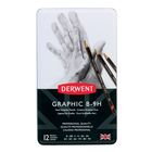 Набор карандашей чернографитных разной твердости Derwent Graphic Hard 12 штук, B-9H, металлический пенал