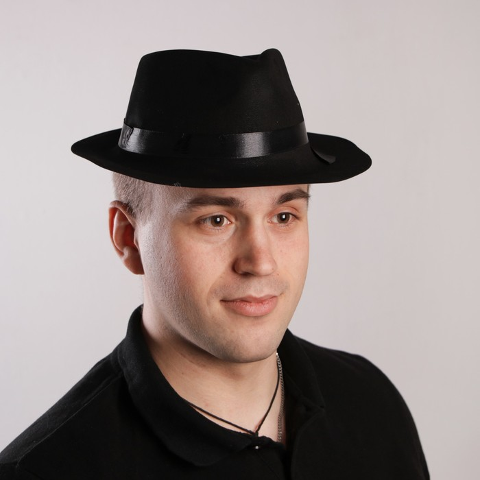 Карнавальная шляпа с кантом, р-р 57-58, цвет чёрный