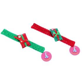Новогодний браслет «Подарок с пуговками», блестящий, цвета МИКС Ош