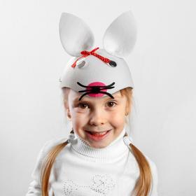 Шляпка карнавальная 'Зайчик' с красным бантиком на ушке, р-р 52-54 Ош