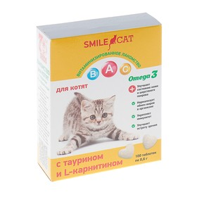 Витамины Smile Cat для котят, с таурином и L-карнитином, 100 таб