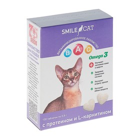 Витамины Smile Cat для кошек, с протеином и L-карнитином, 100 таб Ош