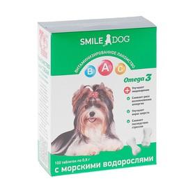 Витамины Smile Dog для собак, с морскими водорослями, 100 таб Ош