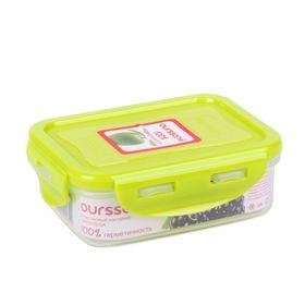 Пластиковый контейнер Oursson, CP0303S/GA, салатовая крышка, 330 мл, прямоугольный