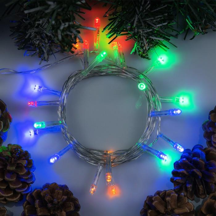"""Гирлянда """"Нить"""" 2.5 м , IP20, прозрачная нить, 25 LED, свечение мульти, фиксинг, 220 В"""